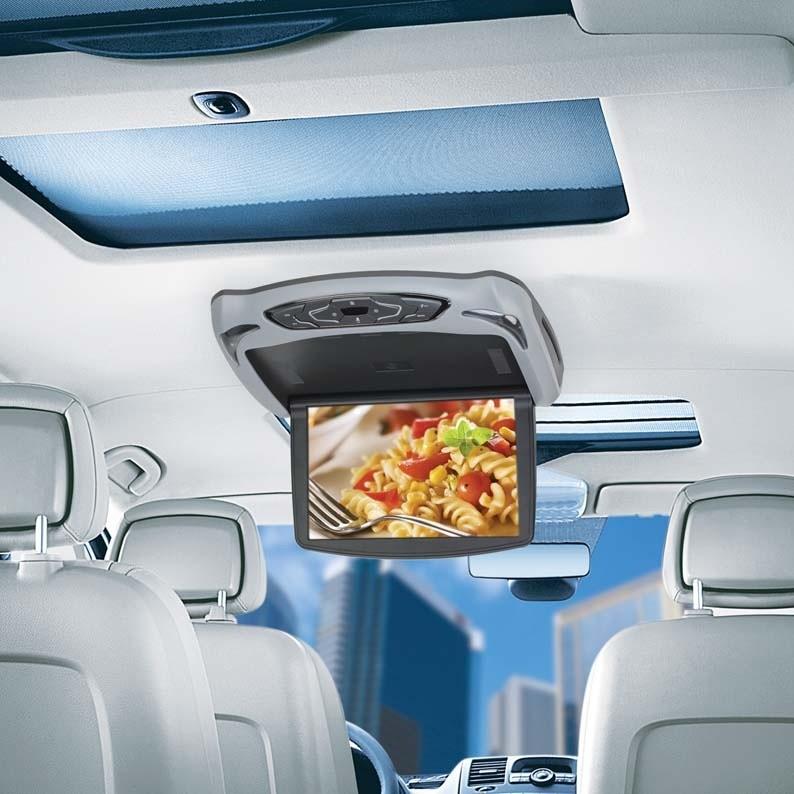 """Stropní monitor 10"""" šedý s DVD/SD/USB + výměnný kryt béžový/černý ic-108fd"""
